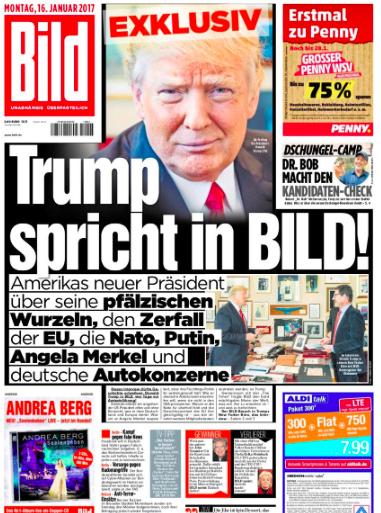 A entrevista de Trump ao alemão Bild fez mudar o tom da cobertura dos media na Europa