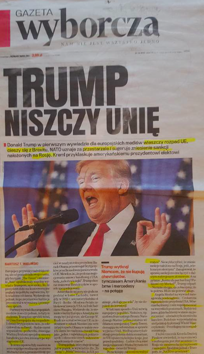 "Gazeta Wyborcza: ""Trump arruína a União"""